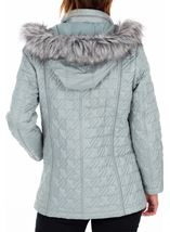 Anna Rose Quilted Faux Fur Trimmed Coat Green - Gallery Image 2