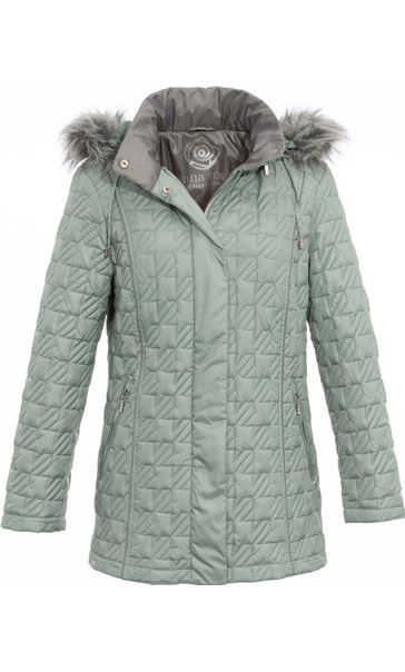Anna Rose Quilted Faux Fur Trimmed Coat Green - Gallery Image 3