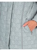 Anna Rose Quilted Faux Fur Trimmed Coat Green - Gallery Image 4
