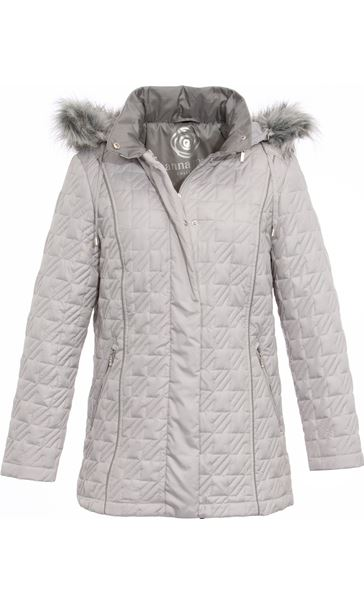 Anna Rose Quilted Faux Fur Trimmed Coat Silver Grey