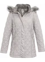 Anna Rose Quilted Faux Fur Trimmed Coat Silver Grey - Gallery Image 1