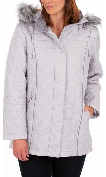 Anna Rose Faux Fur Trimmed Quilted Coat - Silver Grey