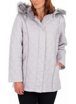 Anna Rose Quilted Faux Fur Trimmed Coat Silver Grey - Gallery Image 2