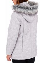 Anna Rose Quilted Faux Fur Trimmed Coat Silver Grey - Gallery Image 3