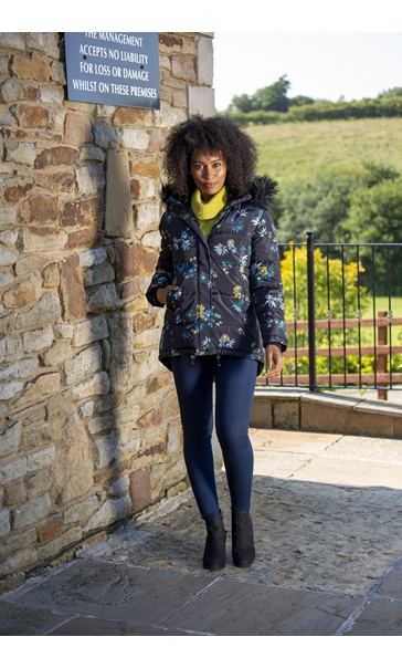 Floral Printed Padded Coat