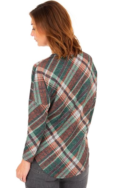 Checked Long Sleeve Zip Tunic Spruce - Gallery Image 2