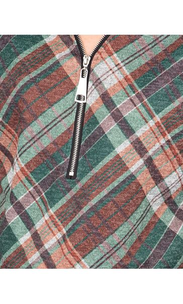 Checked Long Sleeve Zip Tunic Spruce - Gallery Image 3