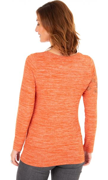 Embellished Lightweight Knit Top Rust - Gallery Image 2