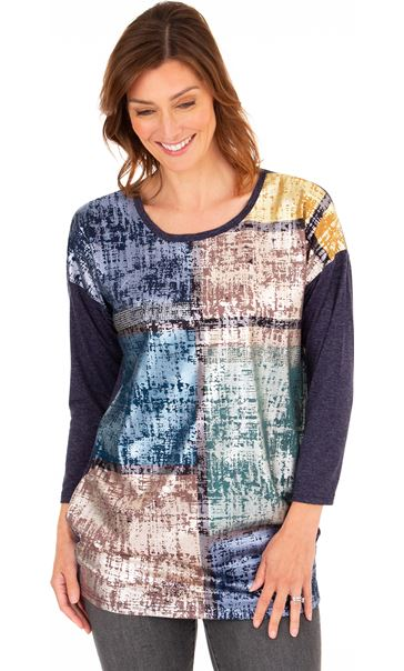 Foil Printed Jersey Top Midnight