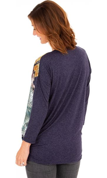 Foil Printed Jersey Top Midnight - Gallery Image 2