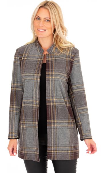 Checked Open Coat Grey/Yellow - Gallery Image 1