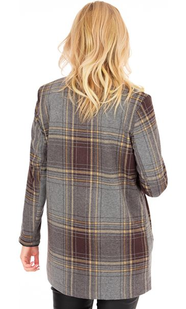 Checked Open Coat Grey/Yellow - Gallery Image 2