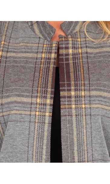Checked Open Coat Grey/Yellow - Gallery Image 3