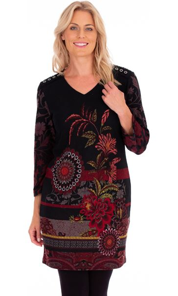 Floral Lightweight Knitted Dress Black - Gallery Image 1