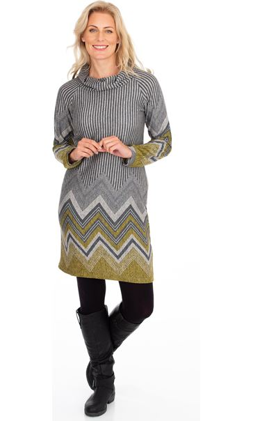 Zig Zag Cowl Neck Knitted Long Sleeve Midi Dress Lime/Grey