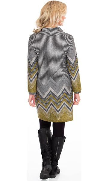 Zig Zag Cowl Neck Knitted Long Sleeve Midi Dress Lime/Grey - Gallery Image 2