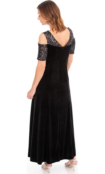 Velour And Embellished Mesh Maxi Dress