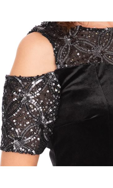 Velour And Embellished Mesh Maxi Dress Black - Gallery Image 3