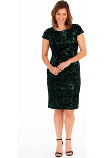 Sequinned Velour Fitted Dress - Emerald