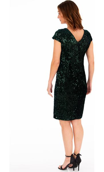 Velour And Sequin Midi Dress Emerald - Gallery Image 2