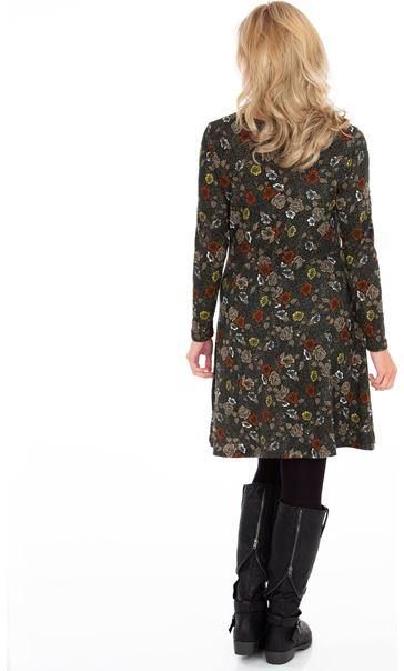 Floral Printed Long Sleeve Knit Dress Forest Green - Gallery Image 2
