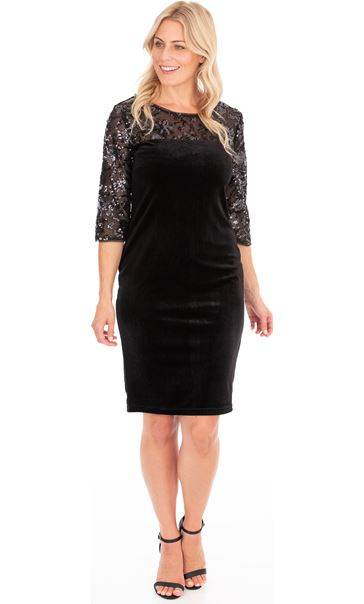 Embellished Mesh And Velour Dress Black - Gallery Image 1