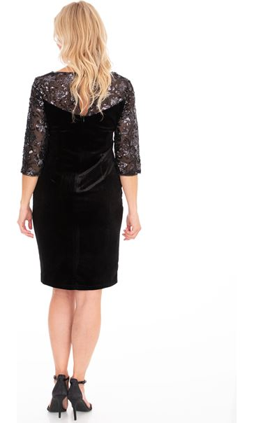 Embellished Mesh And Velour Dress Black - Gallery Image 2