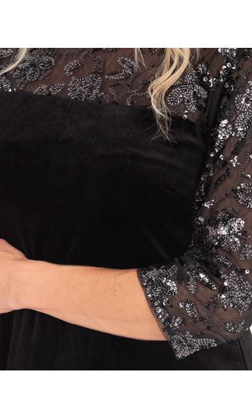 Embellished Mesh And Velour Dress Black - Gallery Image 3
