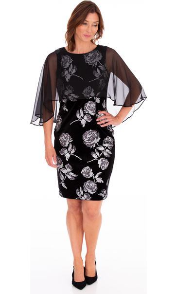 Chiffon Layer Printed Velvet Dress Black/Silver