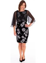 Chiffon Layer Printed Velvet Dress