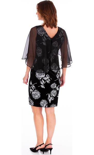 Chiffon Layer Printed Velvet Dress Black/Silver - Gallery Image 2