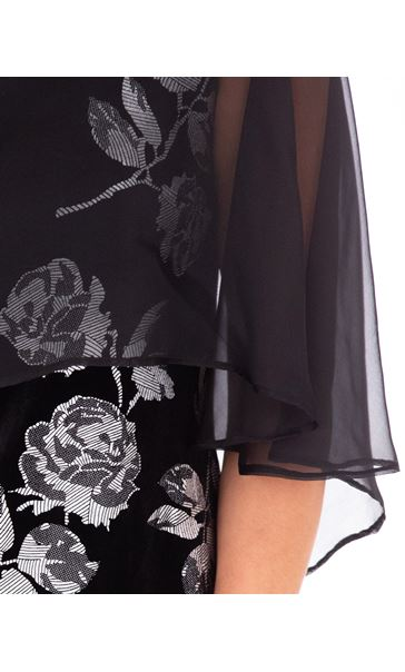 Chiffon Layer Printed Velvet Dress Black/Silver - Gallery Image 3