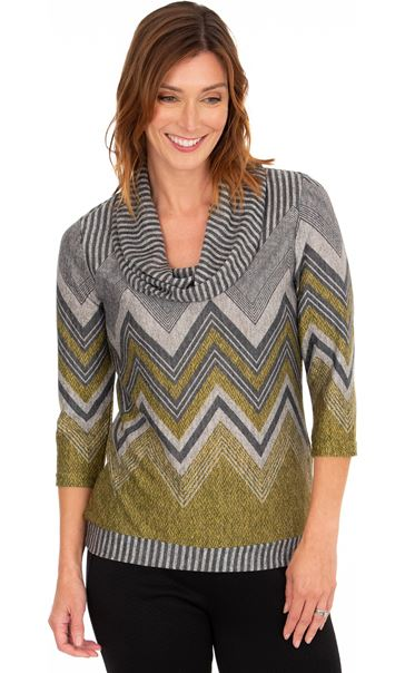 Zig Zag Cowl Neck Knit Top Lime/Grey