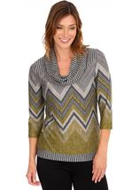 Zig Zag Cowl Neck Knit Top Lime/Grey - Gallery Image 1