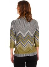 Zig Zag Cowl Neck Knit Top Lime/Grey - Gallery Image 2