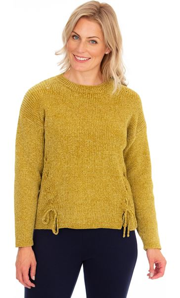 Long Sleeve Lurex Chenille Knit Top Lime