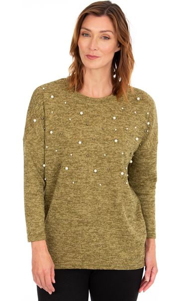 Faux Pearl Embellished Knitted Top