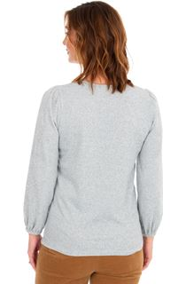 Embroidered Long Sleeve Knit Top - Grey Marl