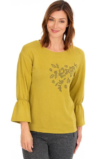 Embroidered Brushed Knit Top