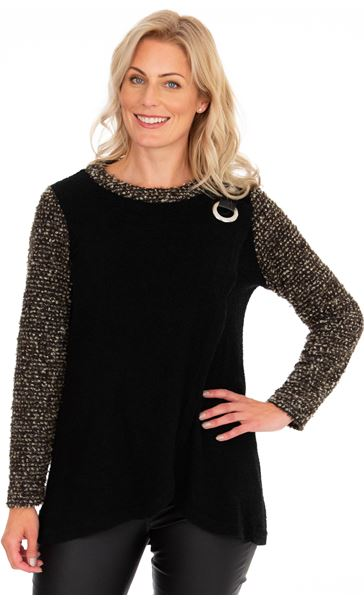 Knitted Wrap Over Top Black/Gold Marl
