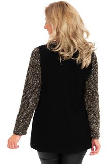 Knitted Wrap Over Top - Black/Gold Marl