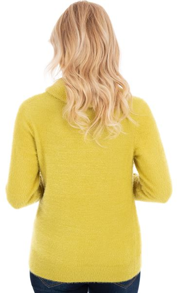 Cowl Neck Eyelash Knit Top Green - Gallery Image 2