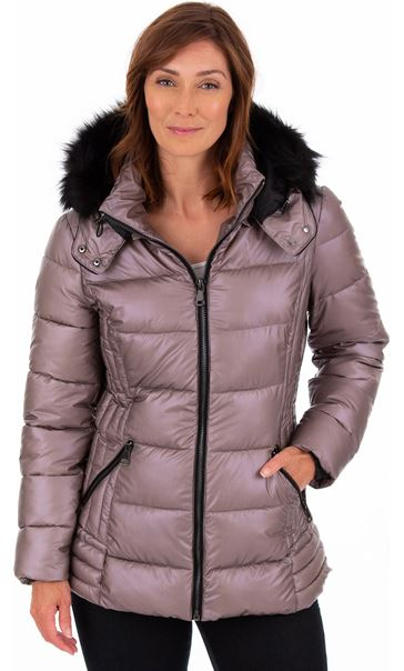Pearlized Puffa Coat Rose