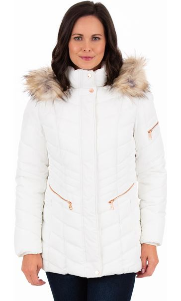Faux Fur Trimmed Puffa Coat Ivory - Gallery Image 1