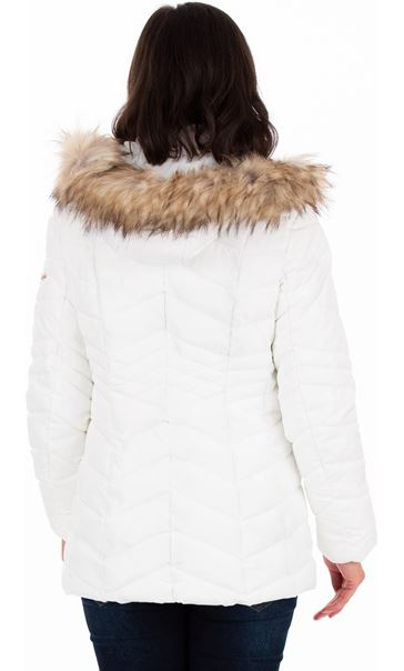 Faux Fur Trimmed Puffa Coat Ivory - Gallery Image 2
