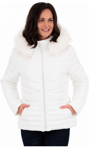 Diamante Trim Zip Hooded Coat Ivory