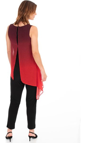 Ombre Chiffon Layered Sleeveless Jumpsuit True Red - Gallery Image 2
