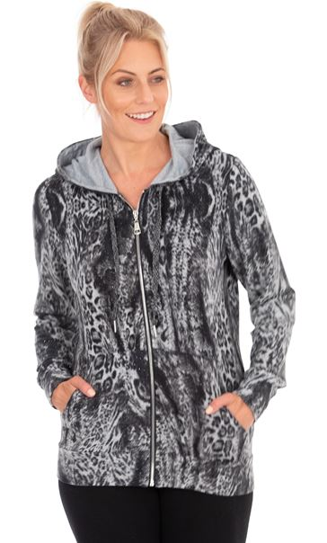 Animal Print Zip Through Sports Hoodie Grey/Black