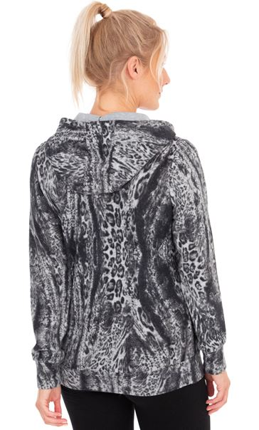Animal Print Zip Through Sports Hoodie Grey/Black - Gallery Image 2