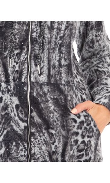 Animal Print Zip Through Sports Hoodie Grey/Black - Gallery Image 3